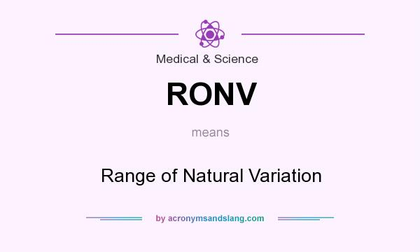 What does RONV mean? It stands for Range of Natural Variation