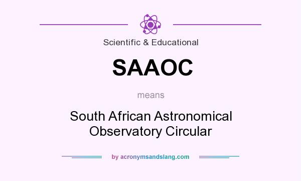 What does SAAOC mean? It stands for South African Astronomical Observatory Circular