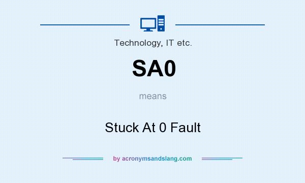 What does SA0 mean? It stands for Stuck At 0 Fault
