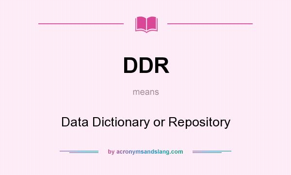 What does DDR mean? It stands for Data Dictionary or Repository
