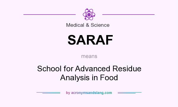 What does SARAF mean? It stands for School for Advanced Residue Analysis in Food