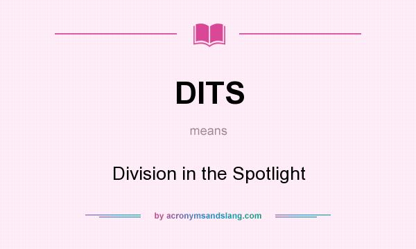 What does DITS mean? It stands for Division in the Spotlight