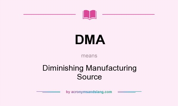 What does DMA mean? It stands for Diminishing Manufacturing Source