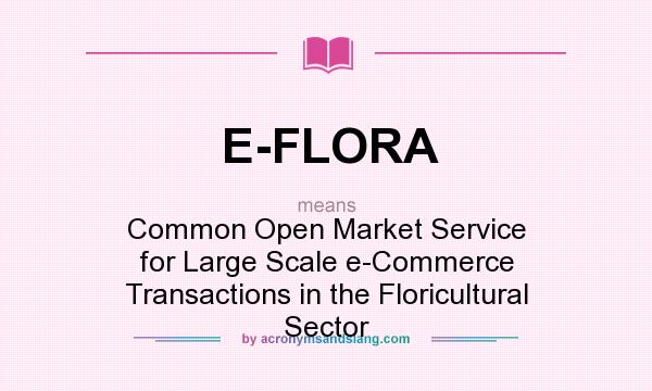 What does E-FLORA mean? It stands for Common Open Market Service for Large Scale e-Commerce Transactions in the Floricultural Sector
