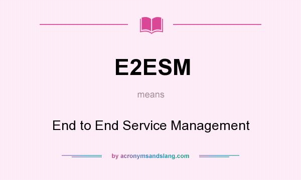What does E2ESM mean? It stands for End to End Service Management
