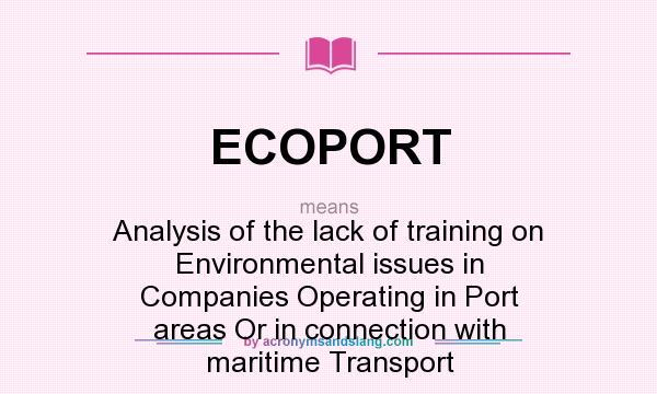 What does ECOPORT mean? It stands for Analysis of the lack of training on Environmental issues in Companies Operating in Port areas Or in connection with maritime Transport