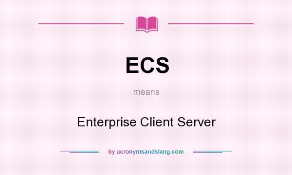 What does ECS mean? It stands for Enterprise Client Server
