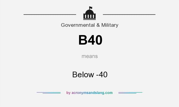 What does B40 mean? It stands for Below -40