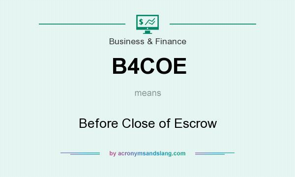 What does B4COE mean? It stands for Before Close of Escrow