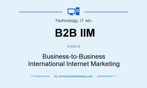 What does B2B IIM mean? It stands for Business-to-Business International Internet Marketing
