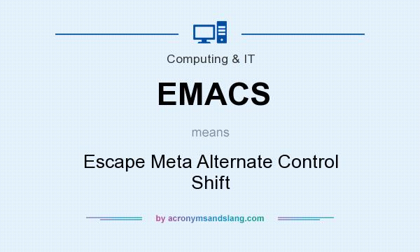 What does EMACS mean? It stands for Escape Meta Alternate Control Shift