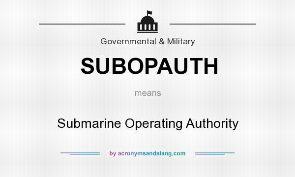 What does SUBOPAUTH mean? It stands for Submarine Operating Authority