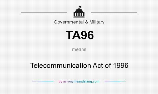 telecommunication act of 1996 The 1996 telecommunications act was a model of bipartisanship and a roadmap for how congress can once again begin to function together the '96 act was the future then the '96 act is the future today the '96 act will be the future tomorrow markey is massachusetts' junior senator, serving since 2013.