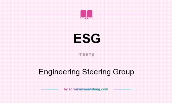 What does ESG mean? It stands for Engineering Steering Group