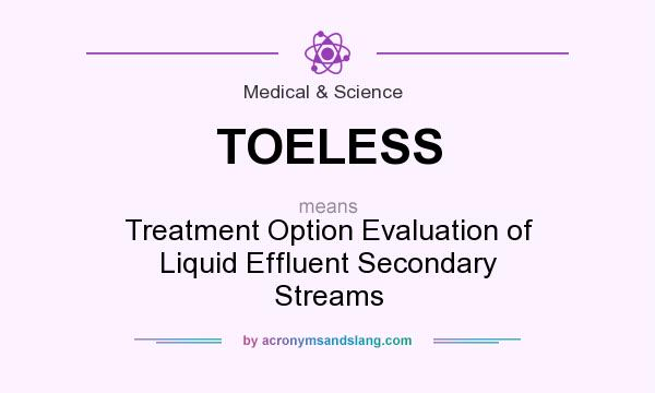 What does TOELESS mean? It stands for Treatment Option Evaluation of Liquid Effluent Secondary Streams