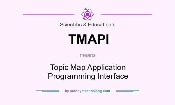What does TMAPI mean? It stands for Topic Map Application Programming Interface