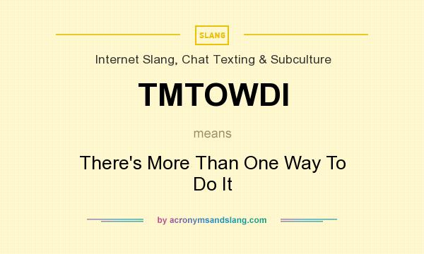 What does TMTOWDI mean? It stands for There`s More Than One Way To Do It