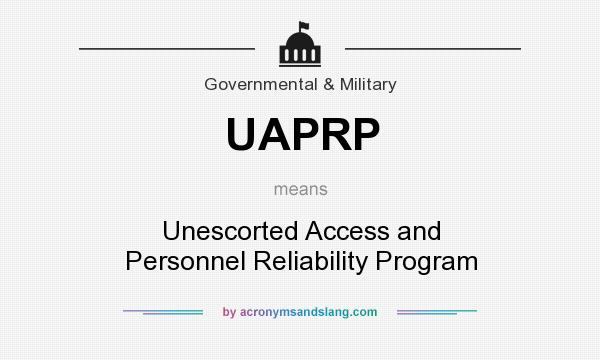 What does UAPRP mean? It stands for Unescorted Access and Personnel Reliability Program