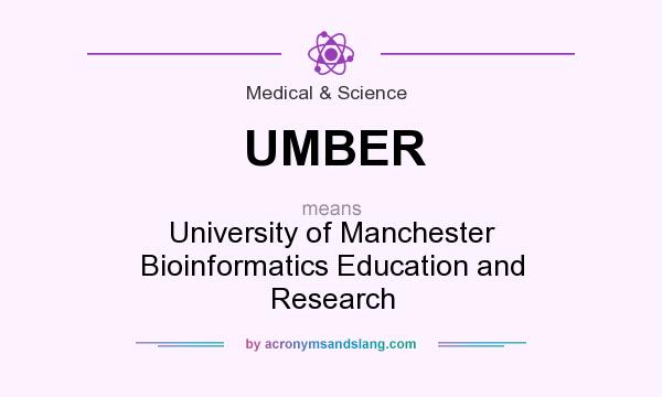 What does UMBER mean? It stands for University of Manchester Bioinformatics Education and Research
