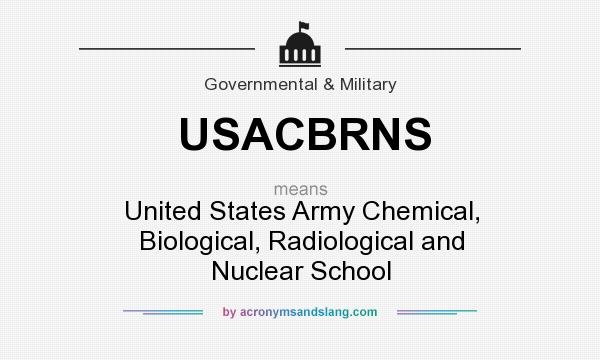 What does USACBRNS mean? It stands for United States Army Chemical, Biological, Radiological and Nuclear School
