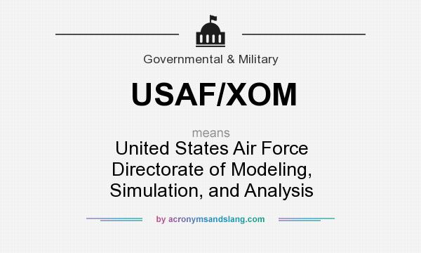 What does USAF/XOM mean? It stands for United States Air Force Directorate of Modeling, Simulation, and Analysis