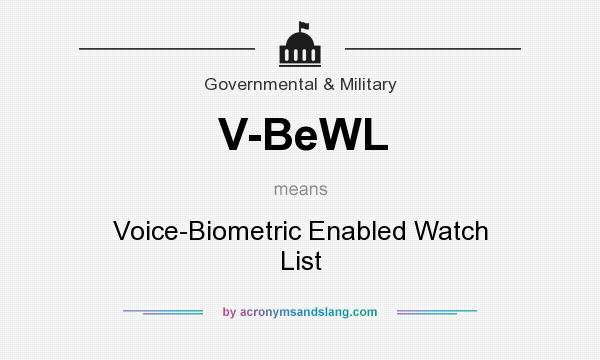 What does V-BeWL mean? It stands for Voice-Biometric Enabled Watch List