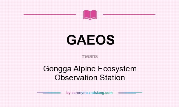 What does GAEOS mean? It stands for Gongga Alpine Ecosystem Observation Station