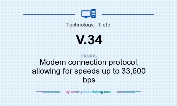 What does V.34 mean? It stands for Modem connection protocol, allowing for speeds up to 33,600 bps