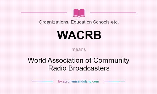 What does WACRB mean? It stands for World Association of Community Radio Broadcasters