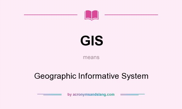 What does GIS mean? It stands for Geographic Informative System