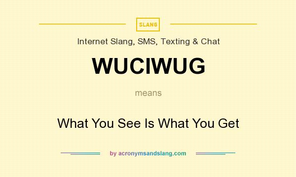 What does WUCIWUG mean? It stands for What You See Is What You Get