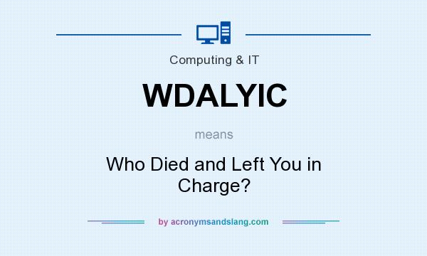 What does WDALYIC mean? It stands for Who Died and Left You in Charge?