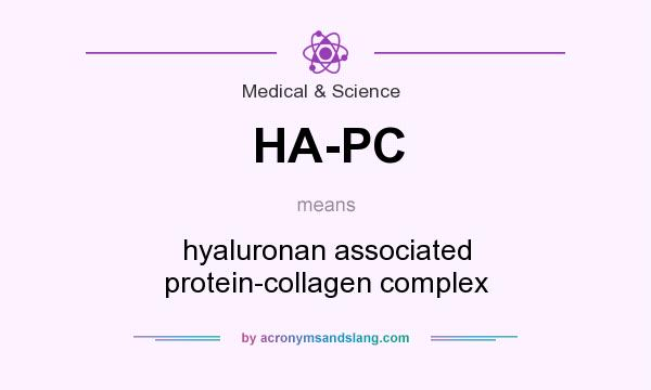 What does HA-PC mean? It stands for hyaluronan associated protein-collagen complex