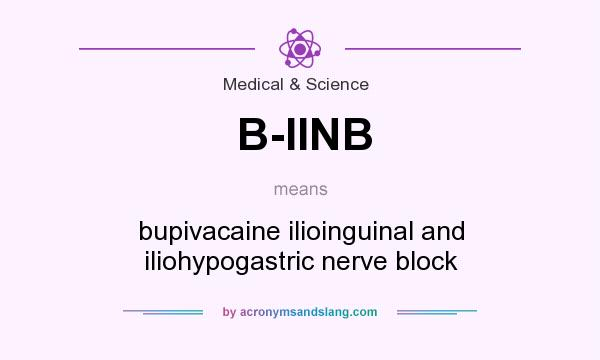 What does B-IINB mean? It stands for bupivacaine ilioinguinal and iliohypogastric nerve block
