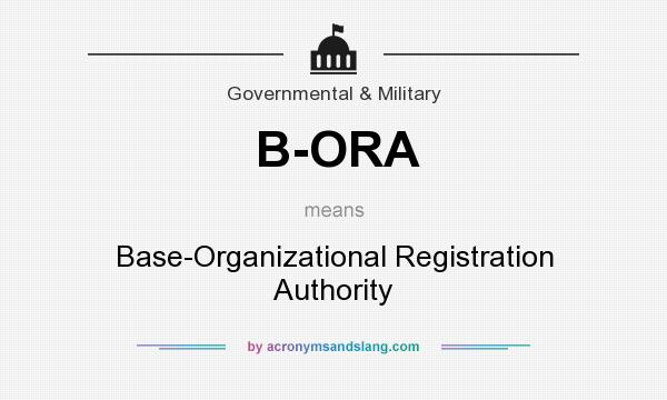 What does B-ORA mean? It stands for Base-Organizational Registration Authority