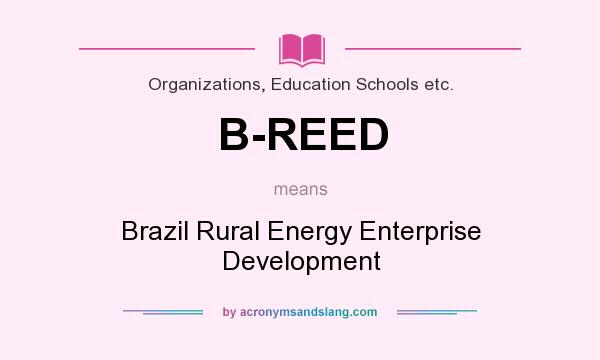 What does B-REED mean? It stands for Brazil Rural Energy Enterprise Development