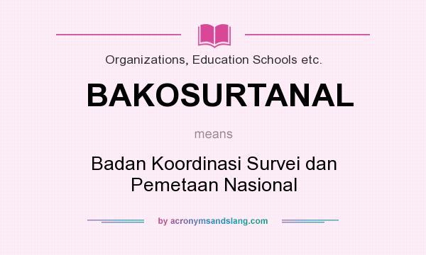 What does BAKOSURTANAL mean? It stands for Badan Koordinasi Survei dan Pemetaan Nasional