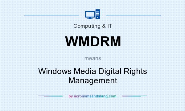What does WMDRM mean? It stands for Windows Media Digital Rights Management