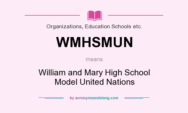 What does WMHSMUN mean? It stands for William and Mary High School Model United Nations