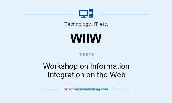 What does WIIW mean? It stands for Workshop on Information Integration on the Web
