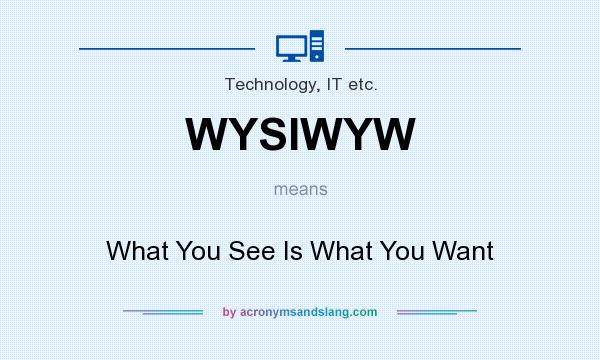 What does WYSIWYW mean? It stands for What You See Is What You Want