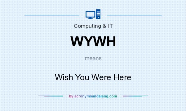 What does WYWH mean? It stands for Wish You Were Here