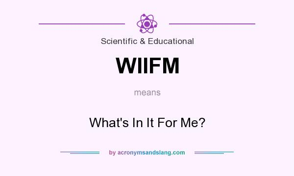 What does WIIFM mean? It stands for What`s In It For Me?