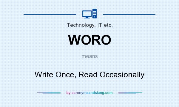 What does WORO mean? It stands for Write Once, Read Occasionally