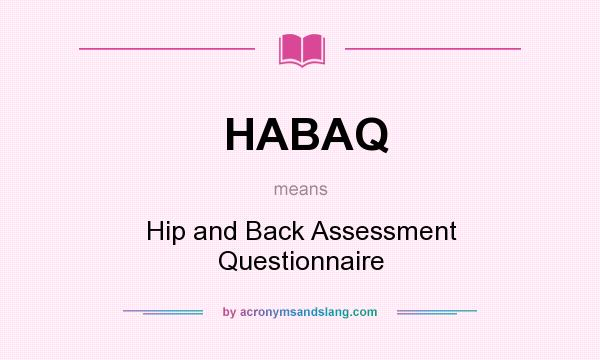 What does HABAQ mean? It stands for Hip and Back Assessment Questionnaire