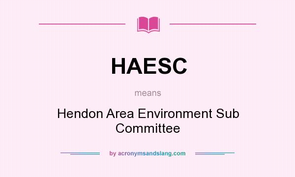 What does HAESC mean? It stands for Hendon Area Environment Sub Committee