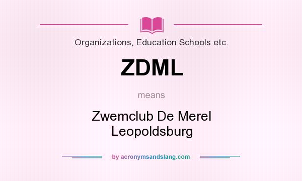 What does ZDML mean? It stands for Zwemclub De Merel Leopoldsburg