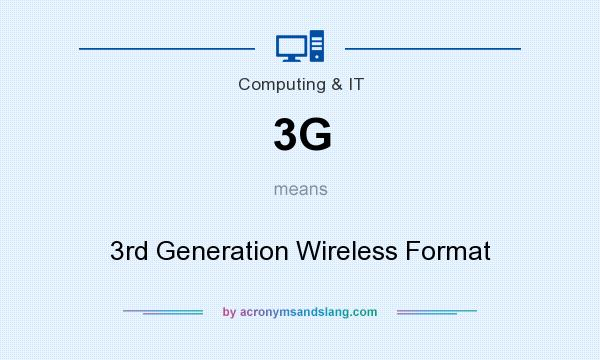 What does 3G mean? It stands for 3rd Generation Wireless Format
