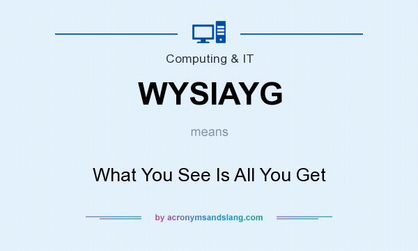 What does WYSIAYG mean? It stands for What You See Is All You Get
