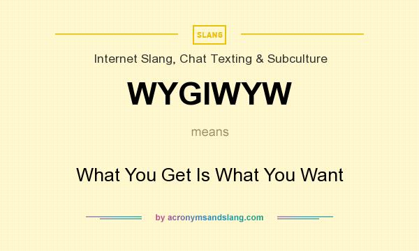 What does WYGIWYW mean? It stands for What You Get Is What You Want